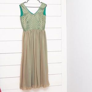 Brocade Silk Sleeveless Shimmer Maxi Party Dress